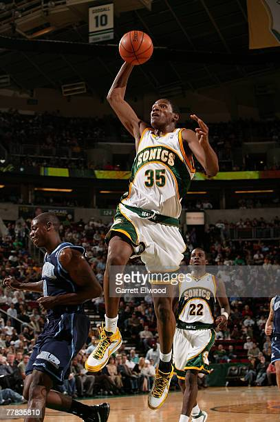 Kevin Durant of the Seattle Supersonics goes to the basket against the Utah Jazz on November 9 2007 at Key Arena in Seattle Washington NOTE TO USER...