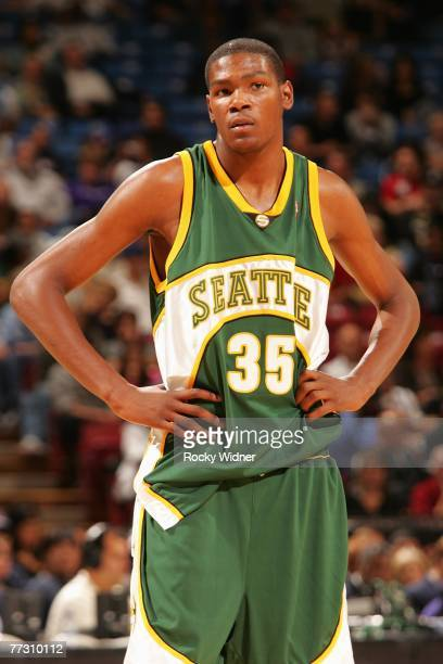 Kevin Durant of the Seattle SuperSonics looks across the court during the game against the Sacramento Kings at Arco Arena on October 9 2007 in...