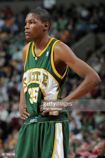 Kevin Durant of the Seattle SuperSonics looks across the court during the game against the Boston Celtics on March 12 2008 at TD Banknorth Garden in...