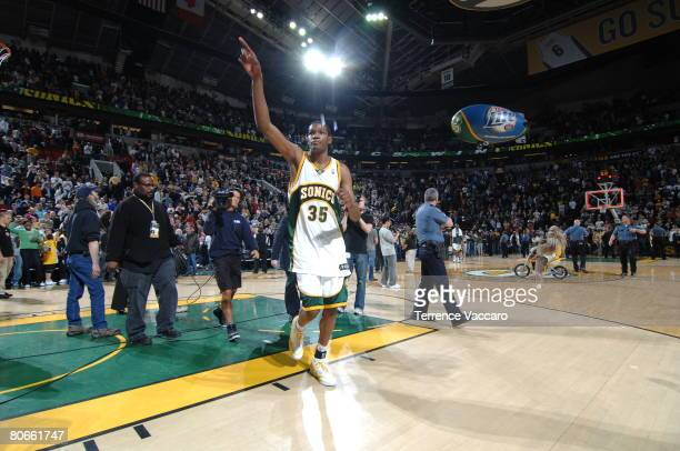 Kevin Durant of the Seattle SuperSonics points to the fans as he exits the court after a victory over the Dallas Mavericks on April 13 2008 at the...