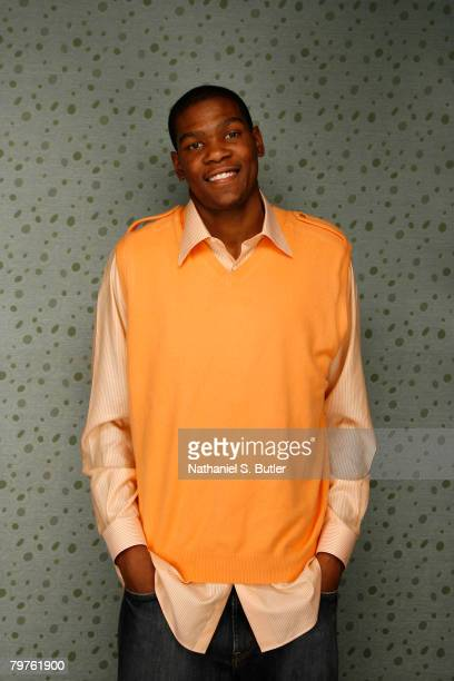 Kevin Durant of the Seattle SuperSonics poses for a portrait during All Star Media Availability at the Sheraton New Orleans February 14 2008 in New...