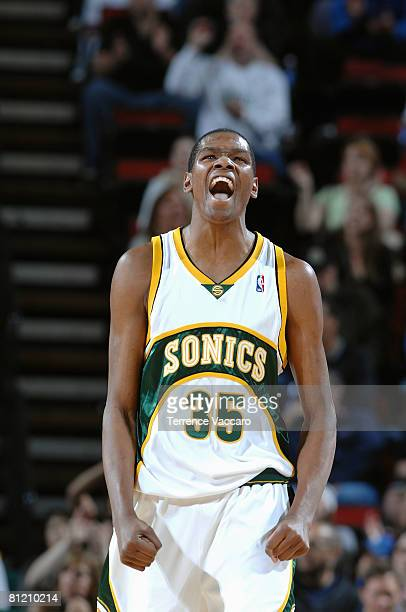 Kevin Durant of the Seattle SuperSonics reacts oncourt against # of the Dallas Mavericks during the game on April 13 2008 at the Key Arena in Seattle...