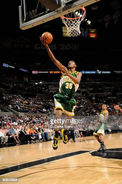 Kevin Durant of the Seattle SuperSonics shoots against the San Antonio Spurs on April 11 2008 at the ATT Center in San Antonio Texas NOTE TO USER...
