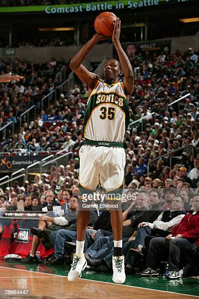 Kevin Durant of the Seattle SuperSonics shoots during the game against the Boston Celtics on December 27 2007 at the Key Arena in Seattle Washington...