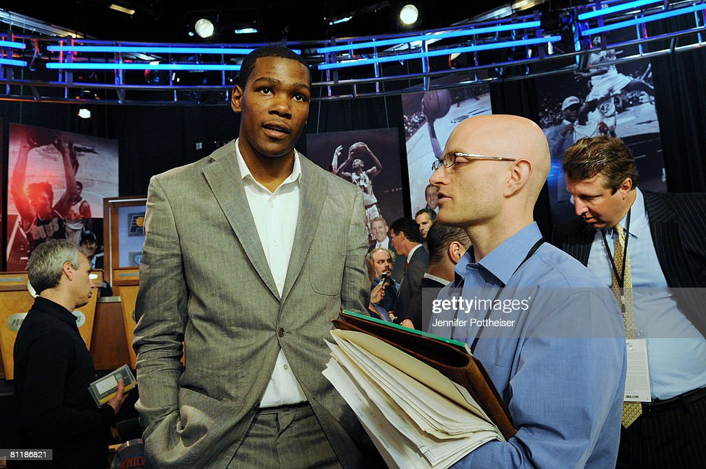 Kevin Durant of the Seattle Supersonics speaks to the media during the 2008 NBA Draft Lottery at the NBATV Studios on May 20, 2008 in Secaucus, New Jersey.