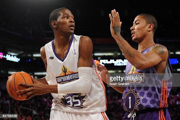 Kevin Durant of the Sophomore team is guarded by Derrick Rose of the Rookie team during the TMobile Rookie Challenge Youth Jam part of 2009 NBA...