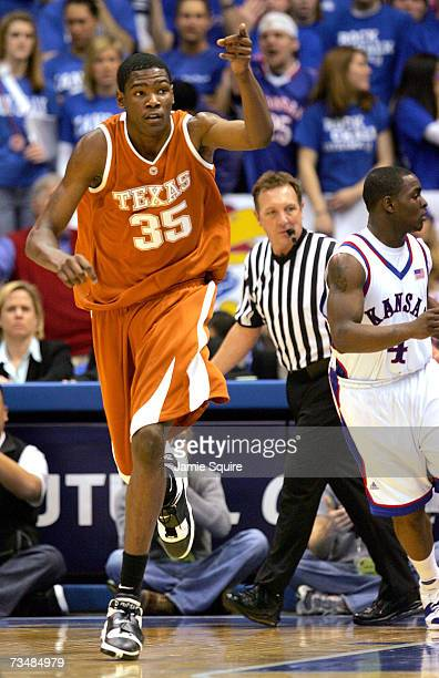 Kevin Durant of the Texas Longhorns celebrates after scoring in the second half of the game against the Kansas Jayhawks on March 3 2007 at Allen...