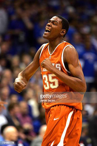 Kevin Durant of the Texas Longhorns celebrates after scoring in the first half of the game against the Kansas Jayhawks on March 3 2007 at Allen...