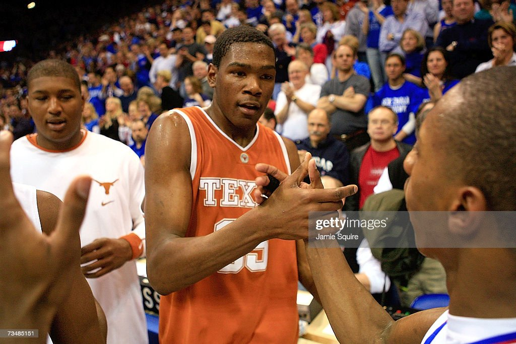f6bb6faa554 Kevin Durant of the Texas Longhorns congratulates the Kansas ...