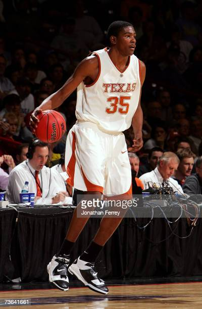 Kevin Durant of the Texas Longhorns dribbles the ball during the second round of the NCAA Men's Basketball Tournament against the USC Trojans at...