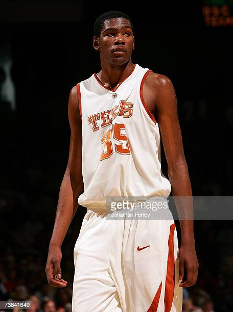 Kevin Durant of the Texas Longhorns looks on during a break in game action in the second round of the NCAA Men's Basketball Tournament against the...