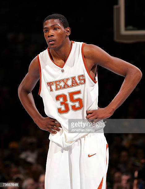 30e6f18fa Kevin Durant of the Texas Longhorns looks on during a break in game action  against the