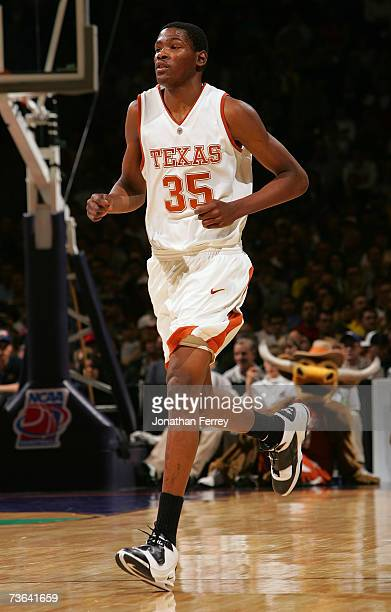 Kevin Durant of the Texas Longhorns runs upcourt during the second round of the NCAA Men's Basketball Tournament against the USC Trojans at Spokane...
