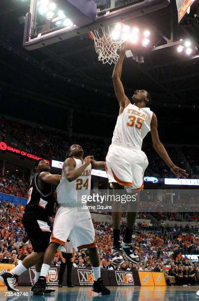Kevin Durant of the Texas Longhorns scores during the semifinal game of the Phillips 66 Big 12 Men's Basketball Championship against of the Oklahoma...