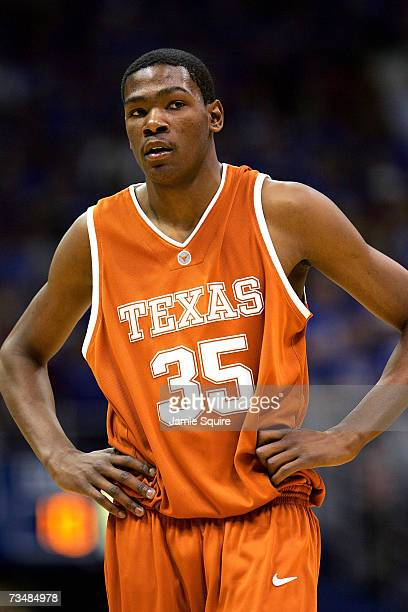 Kevin Durant of the Texas Longhorns walks off the court during a timeout in the second half of the game against the Kansas Jayhawks on March 3, 2007...