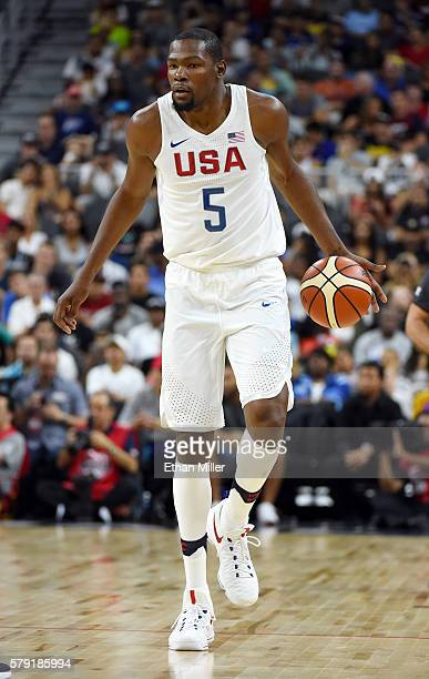 Kevin Durant of the United States brings the ball up the court against Argentina during a USA Basketball showcase exhibition game at T-Mobile Arena...