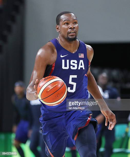 Kevin Durant of the United states runs with the ball during the final match of the Men's basketball between Serbia and United States on day 16 at...