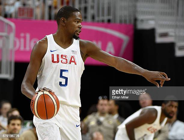 Kevin Durant of the United States sets up a play against Argentina during a USA Basketball showcase exhibition game at TMobile Arena on July 22 2016...