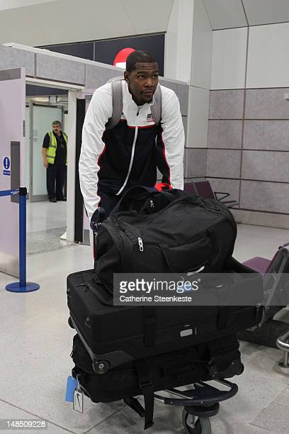 Kevin Durant of the US Men's National team arrives at the airport in Great Britain for an exhibition game on July 19 2012 at Manchester Arena in...