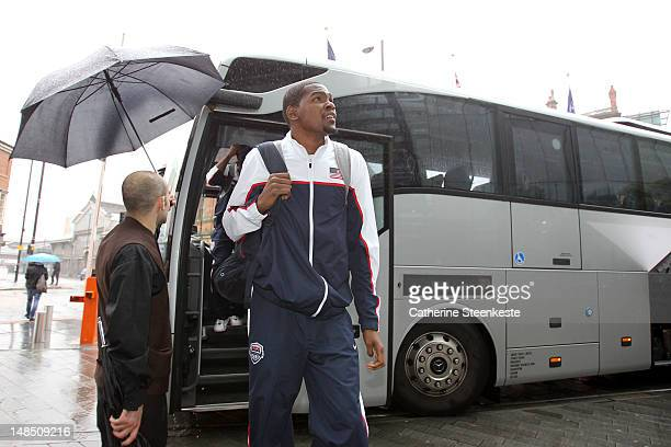 Kevin Durant of the US Men's National team arrives at the hotel in Great Britain for an exhibition game on July 19 2012 at Manchester Arena in...