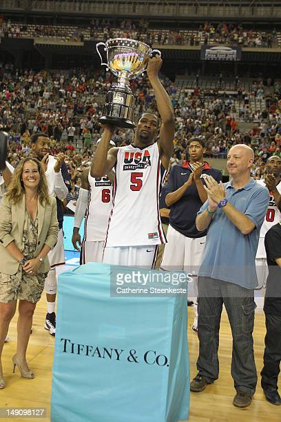 Kevin Durant of the US Men's Senior National team is awarded the Tiffany Co player of the game during an exhibition game against Argentina Men's team...