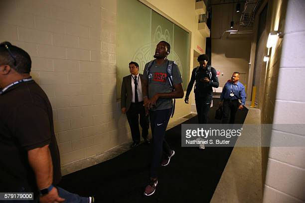 Kevin Durant of the USA Basketball Men's National Team arrives before the game against Argentina on July 22 2016 at TMobile Arena in Las Vegas Nevada...