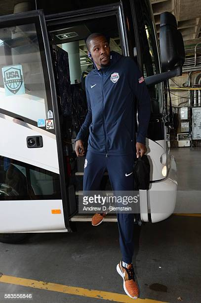Kevin Durant of the USA Basketball Men's National Team arrives before the game against China on July 26 2016 at ORACLE Arena in Oakland California...