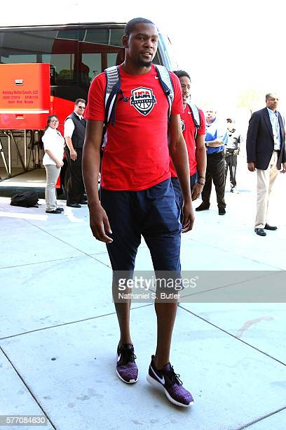 Kevin Durant of the USA Basketball Men's National Team arrives for practice on July 18 2016 at Mendenhall Center on the University of Nevada Las...