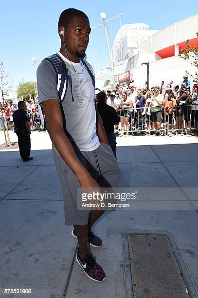 Kevin Durant of the USA Basketball Men's National Team arrives for practice on July 21 2016 at Mendenhall Center on the University of Nevada Las...