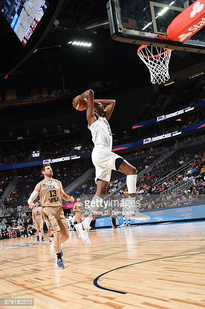 Kevin Durant of the USA Basketball Men's National Team goes up for a dunk against Argentina on July 22 2016 at TMobile Arena in Las Vegas Nevada NOTE...