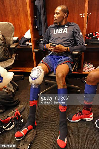 Kevin Durant of the USA Basketball Men's National Team sits in the locker room after the game against China on July 26 2016 at ORACLE Arena in...