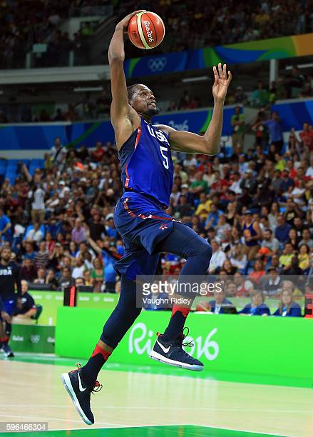 Kevin Durant of the USA dunks the ball during the Men's Gold medal game between Serbia and the USA on Day 16 of the Rio 2016 Olympic Games at Carioca...