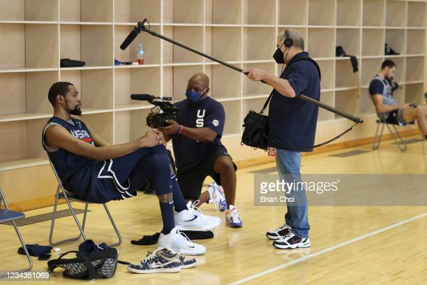 Kevin Durant of the USA Men's National Team interviews during USAB Mens National Team practice on July 29, 2021 in Tokyo, Japan. NOTE TO USER: User...