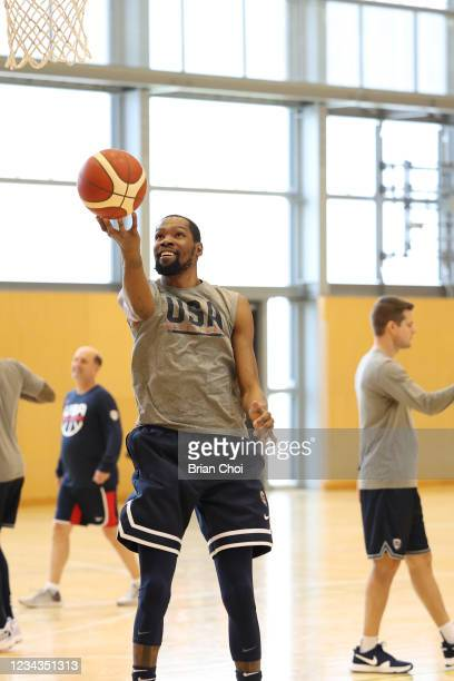 Kevin Durant of the USA Men's National Team shoots the ball during USAB Mens National Team practice on July 29, 2021 in Tokyo, Japan. NOTE TO USER:...