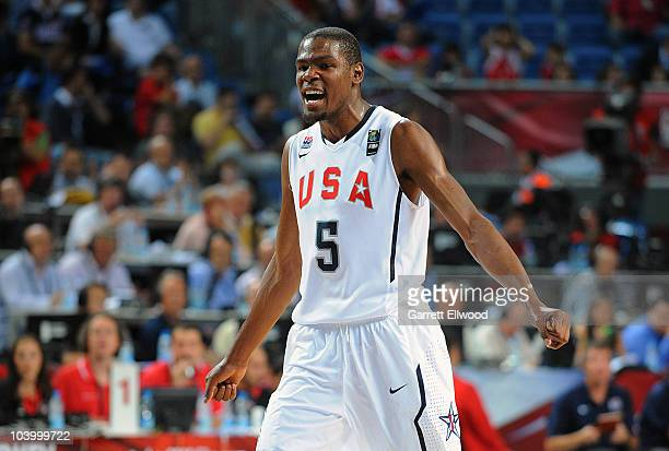 Kevin Durant of the USA Senior Men's National Team celebrates during the game against Lithuania at the 2010 World Championships of Basketball on...
