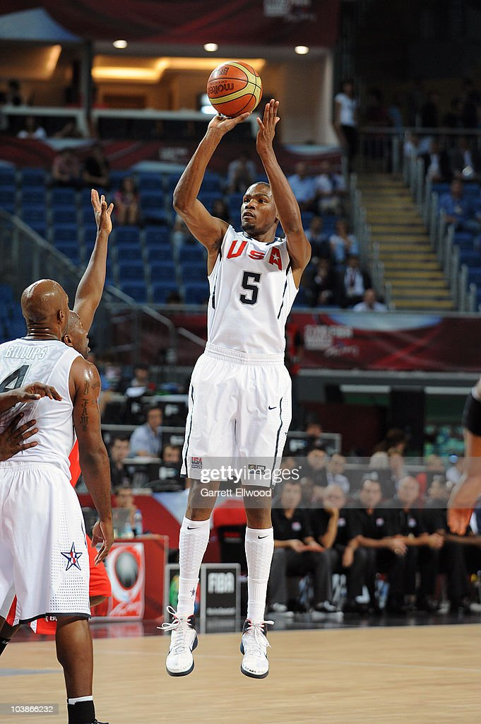 Kevin Durant #5 of the USA Senior Men's National Team shoots during the game against Angola during the 2010 World Championships of Basketball on September 6, 2010 at the Sinan Erdem Dome in Istanbul, Turkey.