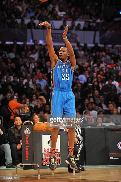 Kevin Durant of the West AllStar Team during the 2011 Foot Locker ThreePoint Contest at Staples Center on February 19 2011 in Los Angeles California...