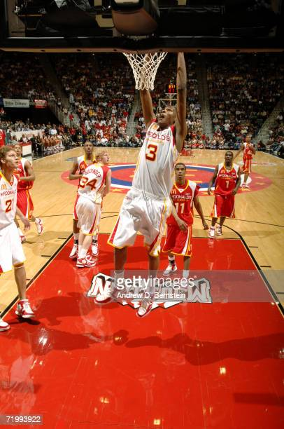 Kevin Durant of the West dunks against the East during the 2006 McDonald's All American High School Basketball game at Cox Arena on March 29 2006 in...