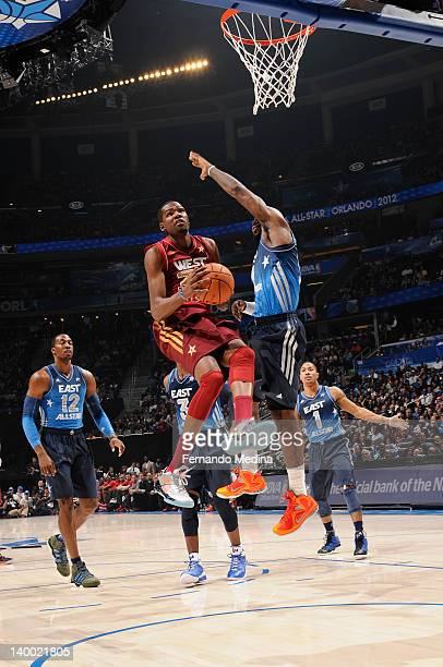 Kevin Durant of the Western Conference AllStars attempts a layup against the Eastern Conference AllStars during the 2012 NBA AllStar Game presented...
