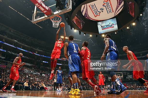 Kevin Durant Of The Western Conference AllStars Dunks Against Derrick Rose Eastern
