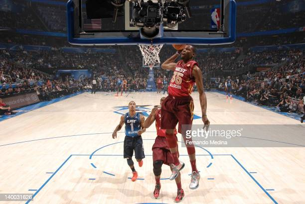 Kevin Durant of the Western Conference AllStars dunks against the Eastern Conference AllStars during the 2012 NBA AllStar Game presented by Kia...