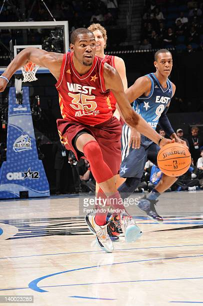 Kevin Durant of the Western Conference AllStars pushes up the court against the Eastern Conference AllStars during the 2012 NBA AllStar Game...