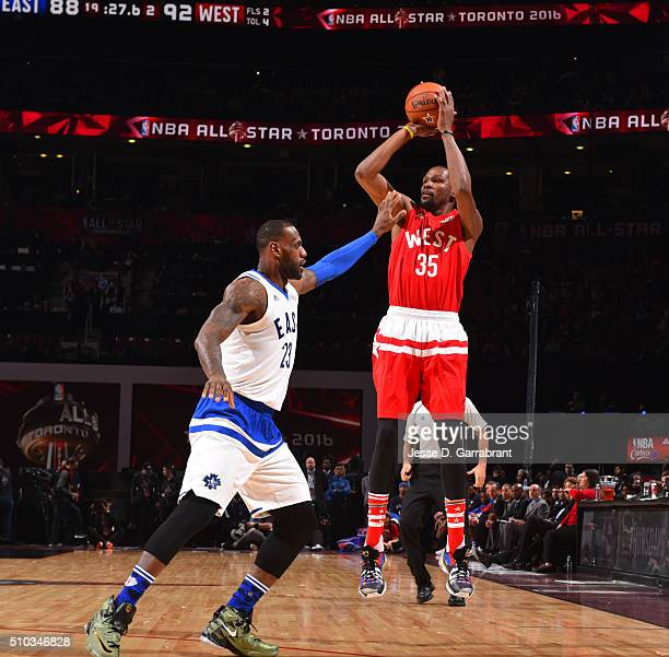 Kevin Durant of the Western Conference AllStars shoots the ball during the NBA AllStar Game as part of the 2016 NBA All Star Weekend on February 14...