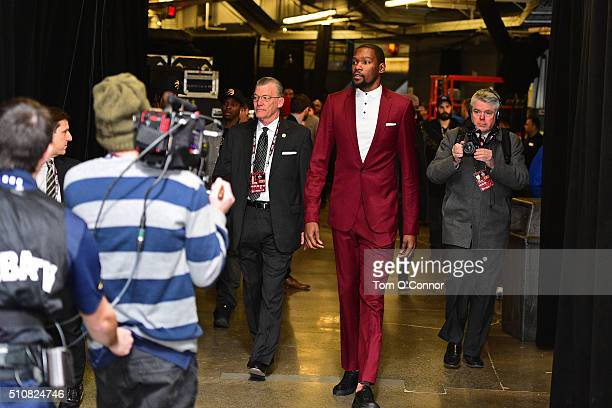 Kevin Durant of the Western Conference arrives before the NBA AllStar Game as part of the 2016 NBA AllStar Weekend on February 14 2016 at Air Canada...