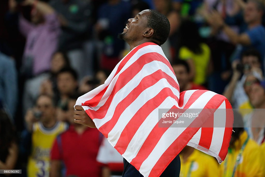Kevin Durant #5 of United States celebrates after defeating Serbia during the Men's Gold medal game on Day 16 of the Rio 2016 Olympic Games at Carioca Arena 1 on August 21, 2016 in Rio de Janeiro, Brazil.