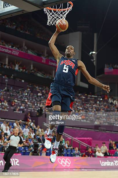 Kevin Durant of United States dunks the ball in the first quarter while taking on Argentina during the Men's Basketball semifinal match on Day 14 of...