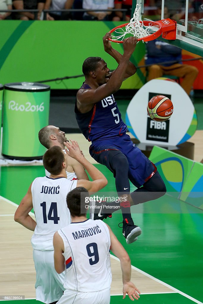 Kevin Durant #5 of United States dunks the ball over Nikola Jokic #14 of Serbia during the Men's Gold medal game on Day 16 of the Rio 2016 Olympic Games at Carioca Arena 1 on August 21, 2016 in Rio de Janeiro, Brazil.