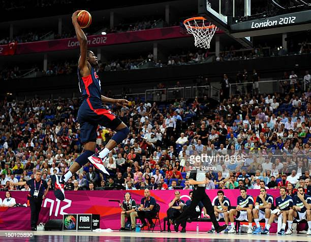 Kevin Durant of United States goes up for a dunk in the first half against Argentina during the Men's Basketball semifinal match on Day 14 of the...