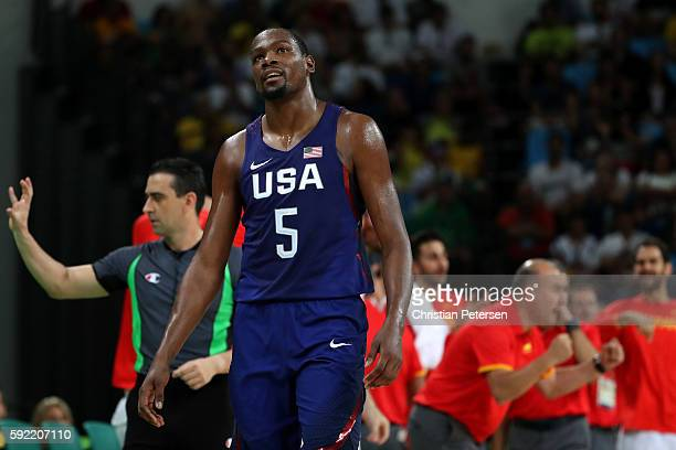 Kevin Durant of United States reacts during the Men's Semifinal match against Spain on Day 14 of the Rio 2016 Olympic Games at Carioca Arena 1 on...