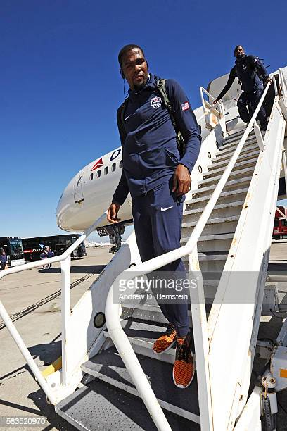 Kevin Durant of USA Basketball Men's National Team exits the plane after traveling from Los Angeles to San Francisco on July 25 2016 at San Francisco...